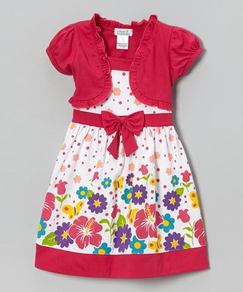 Fuchsia Hibiscus Floral Dress & Shrug - Infant, Toddler & Girls