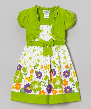 Lime Hibiscus Floral Dress & Shrug - Infant, Toddler & Girls
