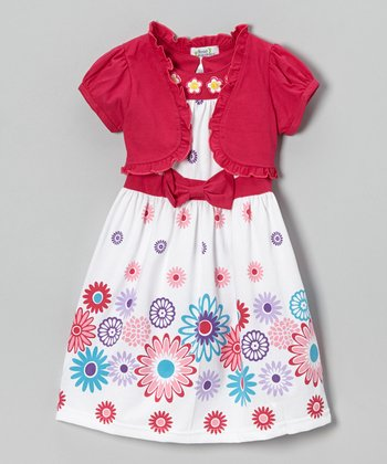 Fuchsia Daisy Bow Dress & Shrug - Toddler & Girls