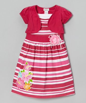 Fuchsia Stripe Hibiscus Dress & Shrug - Infant, Toddler & Girls