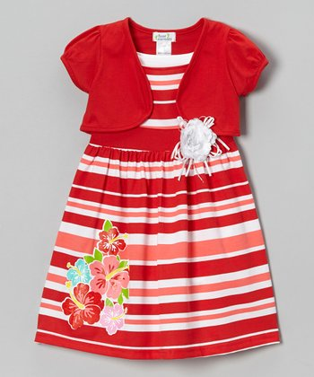 Red Stripe Hibiscus Dress & Shrug - Infant, Toddler & Girls