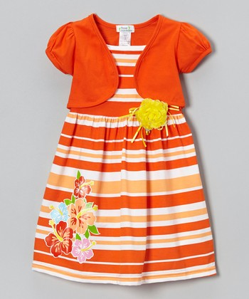 Orange Stripe Hibiscus Dress & Shrug - Infant, Toddler & Girls