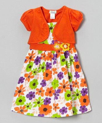 Orange & Lime Floral Dress & Shrug - Infant, Toddler & Girls