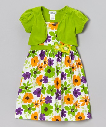 Lime & Orange Floral Dress & Shrug - Infant, Toddler & Girls