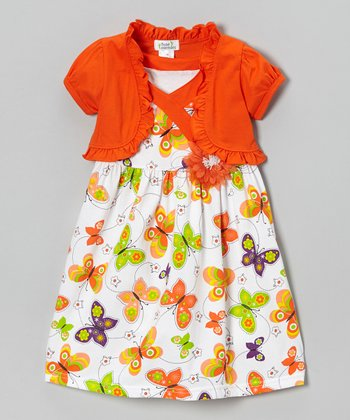 Orange Butterfly Dress & Shrug - Infant, Toddler & Girls