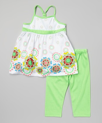 Green Dot Flower Tunic & Leggings - Infant, Toddler & Girls
