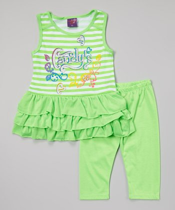 Green Stripe 'Candy's' Tunic & Leggings - Infant, Toddler & Girls