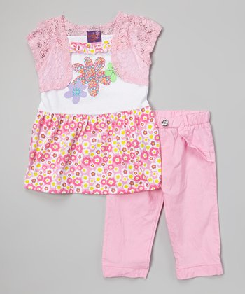 Light Pink Floral Tunic & Pants - Infant, Toddler & Girls