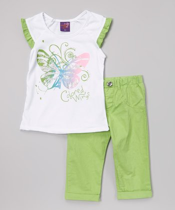 Green 'Colored Wing' Top & Pants - Infant, Toddler & Girls