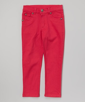 Pink Rhinestone Twill Pants - Toddler & Girls
