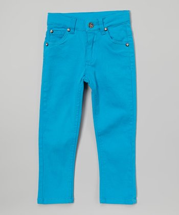 Teal Rhinestone Twill Pants - Toddler & Girls