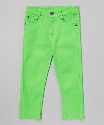 Lime Green Rhinestone Twill Pants - Toddler & Girls