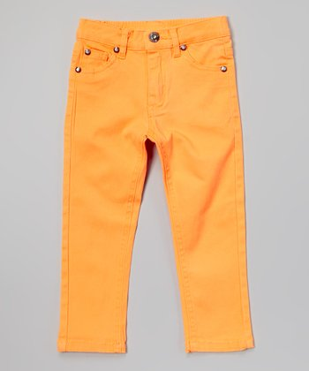 Neon Orange Rhinestone Twill Pants - Toddler & Girls