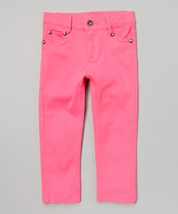 Neon Pink Rhinestone Twill Pants - Toddler & Girls