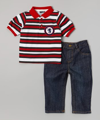 Red Stripe Polo & Dark Wash Jeans - Infant, Toddler & Boys