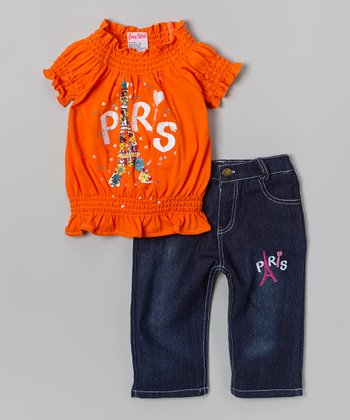 Orange 'Paris' Top & Capri Pants - Infant, Toddler & Girls