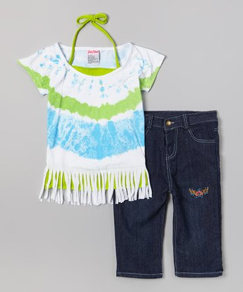 Green Tie-Dye Fringe Top & Capri Pants - Infant, Toddler & Girls