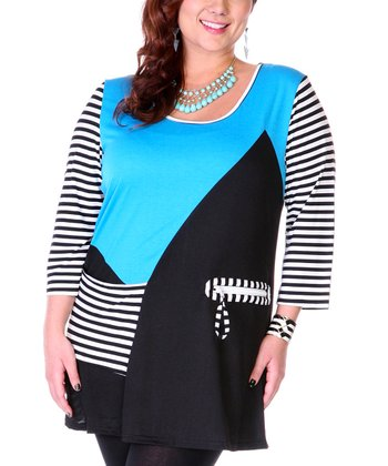 Turquoise & White Stripe Color Block Tunic - Plus
