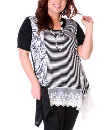 Black & White Lace Trim Asymmetrical Top - Plus