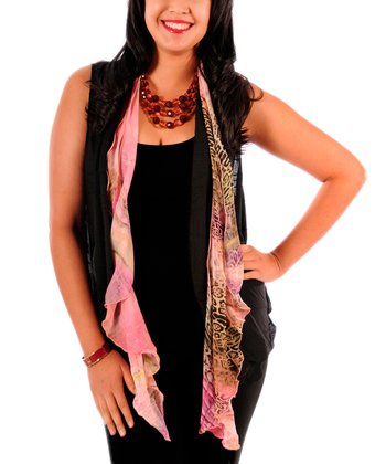 Black & Pink Jungle Chiffon Vest - Plus