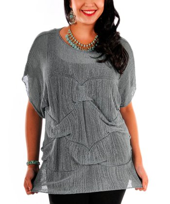 Gray Sheer Knit Cape-Sleeve Top - Plus