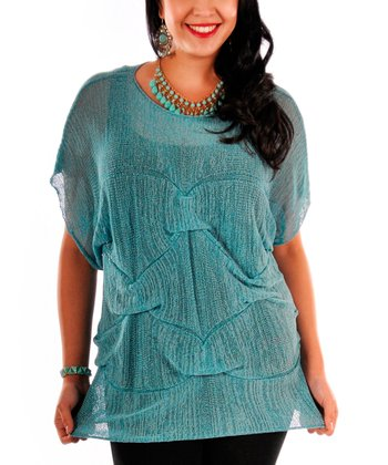 Teal Sheer Knit Cape-Sleeve Top - Plus