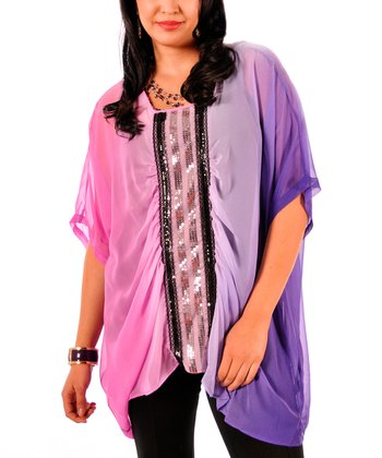 Pink & Purple Sequin Sheer Cape-Sleeve Top - Plus