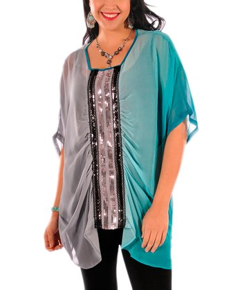 Teal & Gray Sequin Sheer Cape-Sleeve Top - Plus
