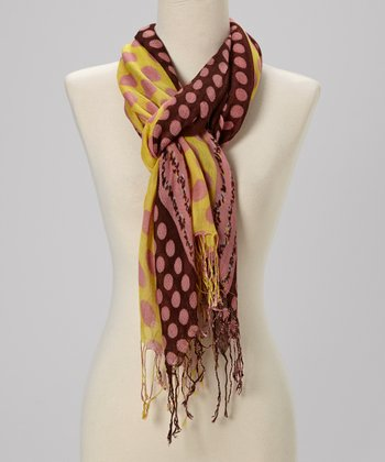 Brown & Yellow Dot Scarf