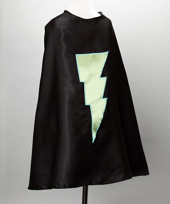 Black & Lime Green Lightning Cape - Kids