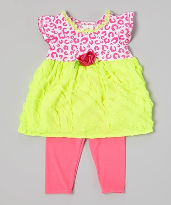 Yellow Leopard Tunic & Pink Leggings - Infant, Toddler & Girls