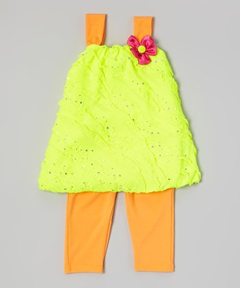 Yellow Sequin Tunic & Orange Leggings - Infant, Toddler & Girls