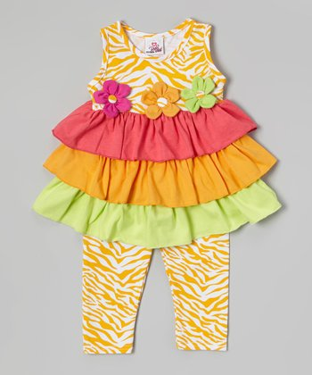 Orange Tiered Tunic & Zebra Leggings - Infant, Toddler & Girls