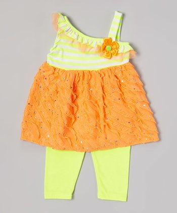 Orange Ruffle Tunic & Yellow Leggings - Toddler & Girls