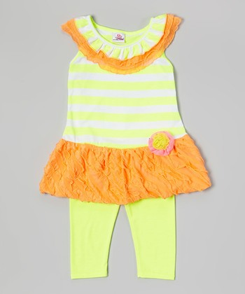 Yellow Drop-Waist Tunic & Leggings - Infant, Toddler & Girls