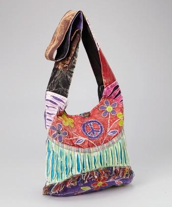 Fuchsia Razor-Cut Fringe Crossbody Bag