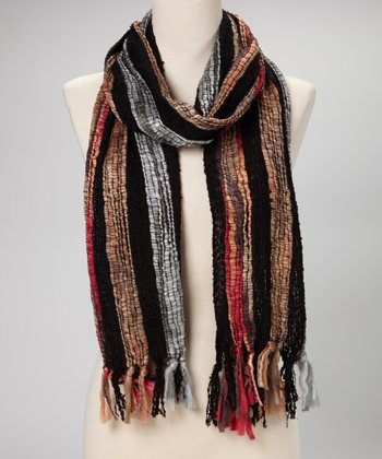 Black & Fuchsia Stripe Scarf
