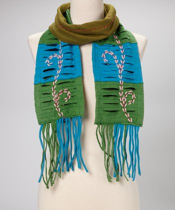 Green & Blue Sprout Scarf