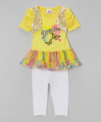 Yellow 'Dream' Tunic & White Leggings - Infant, Toddler & Girls
