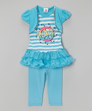 Blue Stripe 'Peace' Tunic & Leggings - Infant, Toddler & Girls