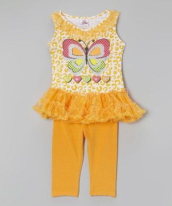 Orange Butterfly Tutu Tunic & Leggings - Infant, Toddler & Girls