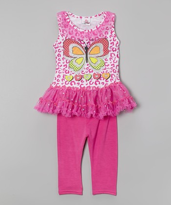 Pink Butterfly Tutu Tunic & Leggings - Infant, Toddler & Girls