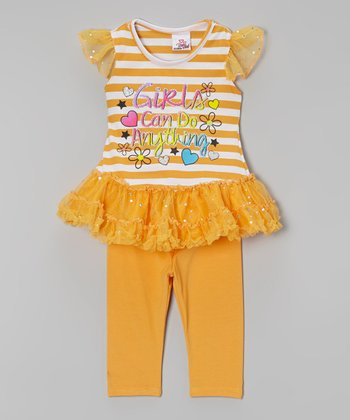 Orange 'Girls' Tutu Tunic & Leggings - Infant, Toddler & Girls