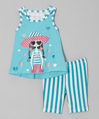Turquoise Girl Tank & Stripe Shorts - Infant & Toddler