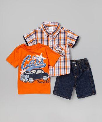 Orange 'Classic Cars' Shorts Set - Infant, Toddler & Boys