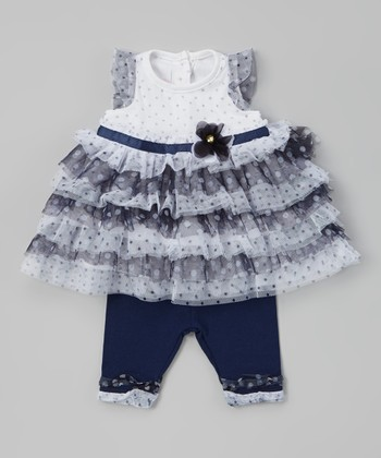 Navy Polka Dot Tunic & Leggings - Infant
