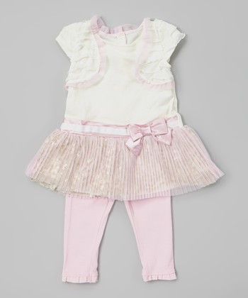 Light Pink Sequin Pleated Tunic & Leggings - Infant