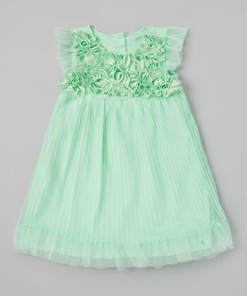 Green Rosette Pleated Dress - Infant & Toddler