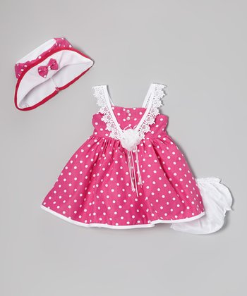 Fuchsia Polka Dot Lace Dress Set - Infant