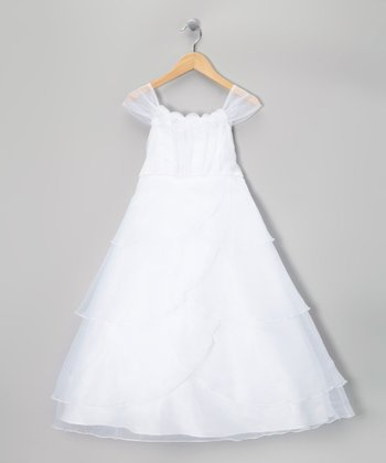 White Rosette & Pearl Dress